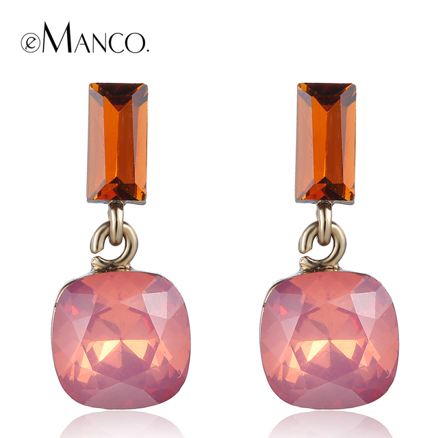 Pink opal crystal earrings for women 2016 cute girl crystal geometric small drop earrings boucles d'oreille women eManco ER50593