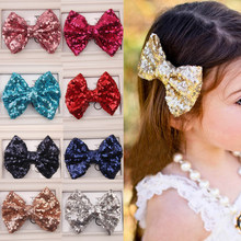Hot 1PC Girl Baby Kids shiny Toddlers Headwear Sequin Bowknot Hairpin Hair Clip Hair Jewellery(China)
