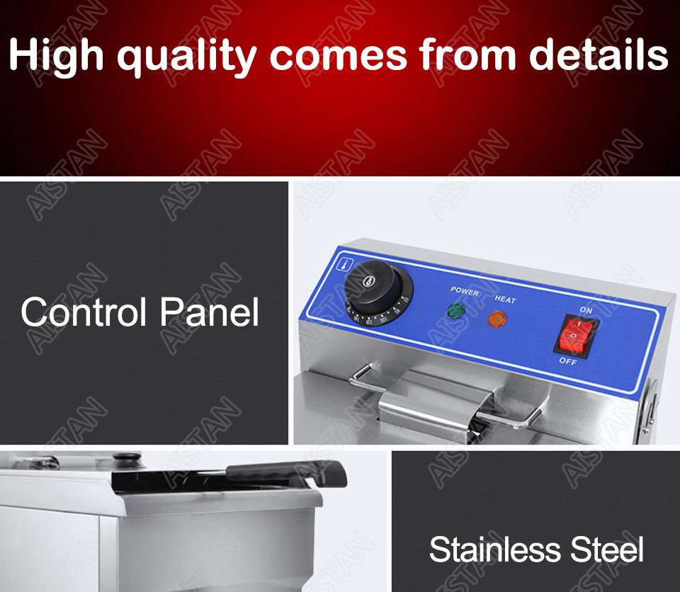EF101V stainless steel electric deep fryer fried chicken fried potato chips for kitchen appliance 18