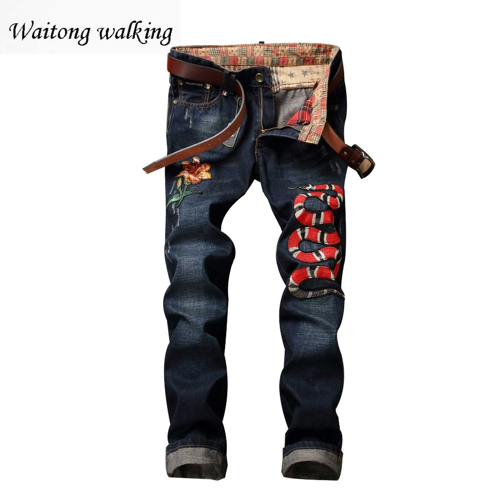 New 2017 Mens brand designer Jeans With Snake And Flower Embroidery Slim Fit Washed Denim Pants