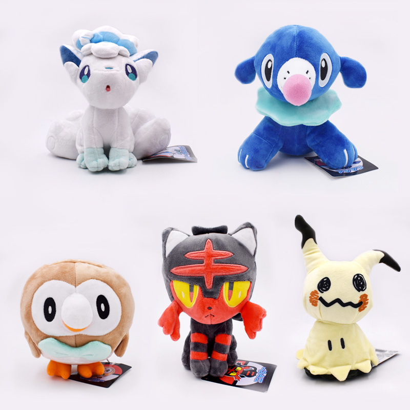 18-20cm Litten Rowlet Popplio Alola Vulpix Mimikyu PP Cotton Plush Toy Anime Animal Doll For Children Gifts Free Shipping