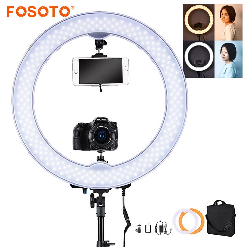 fosoto 55W 5500K 240 LED Makeup Photographic Lighting Dimmable Camera Photo video Phone Photography Ring Light Lamp&battery slot fosoto rl 18 55w 5500k 240 led photographic lighting dimmable camera photo studio phone photography ring light lamp