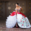 Precioso bordado vestido De novia vestido De Mariee Sofuge Boho Dubai árabe Abiti Da Sposa vestidos largos niveles vestido De noche De organza para novia