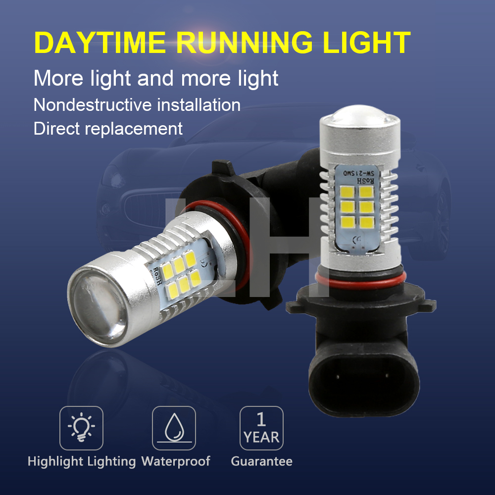 2PCS HB4 9006 LED Bulbs High Power 21-SMD LED Daytime Running Fog Light 12V 24V White 6000K