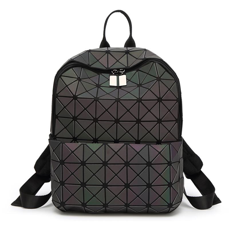 Nueva geométrica mujeres Mochila De Cuero bolsas de escuela para adolescentes Mochila Laptop cremallera antirrobo Mochila