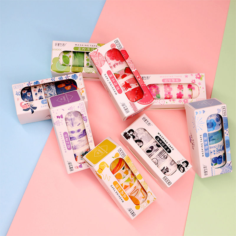 6 Pcs/Lot Colored Fruit Flower Plant Washi Tape DIY Decoration Scrapbooking Planner Masking Tape Adhesive Tape