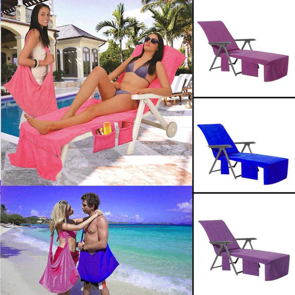 210x73cm Lounger Mate Beach Towel Microfiber Double Layers Sunbath Lounger Bed Holiday Garden Beach Chair Cover Towels 3 Colors