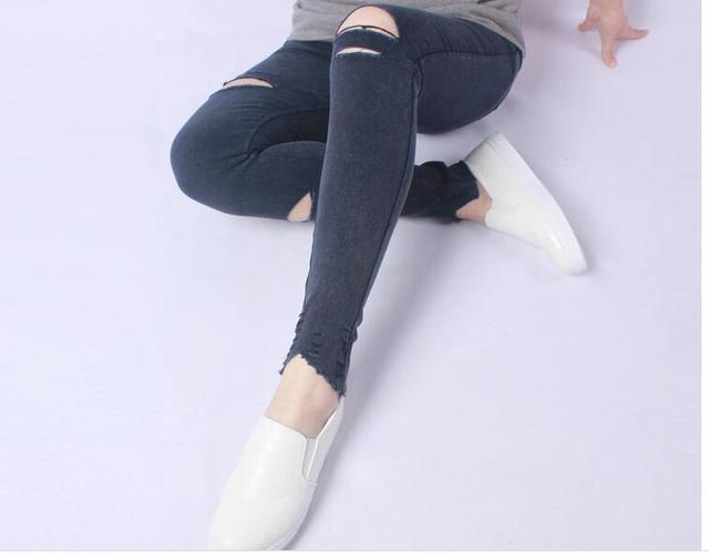 7cf11596b3b1 New Fashion Women Leggings Plus Size Leggings Knee Hole Jeggings Legging  Jeans With Two Pockets Leggings