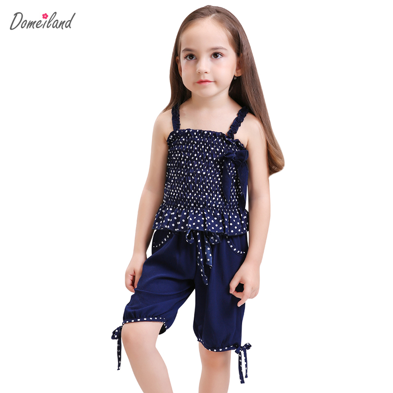 2017 fashion summer domeiland children clothing girls outfits sets sleeveless Polka Dot Chiffon tops shorts pant clothes suits little maven brand 2017 new summer baby girls clothes cotton tank tops leggings dot print children s sleeveless sets 20119