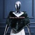 2016 New Arrival Faux Fur verde escuro mulheres xaile nupcial do casamento Jacket enrole Shrug Bolero Evening partido cabo
