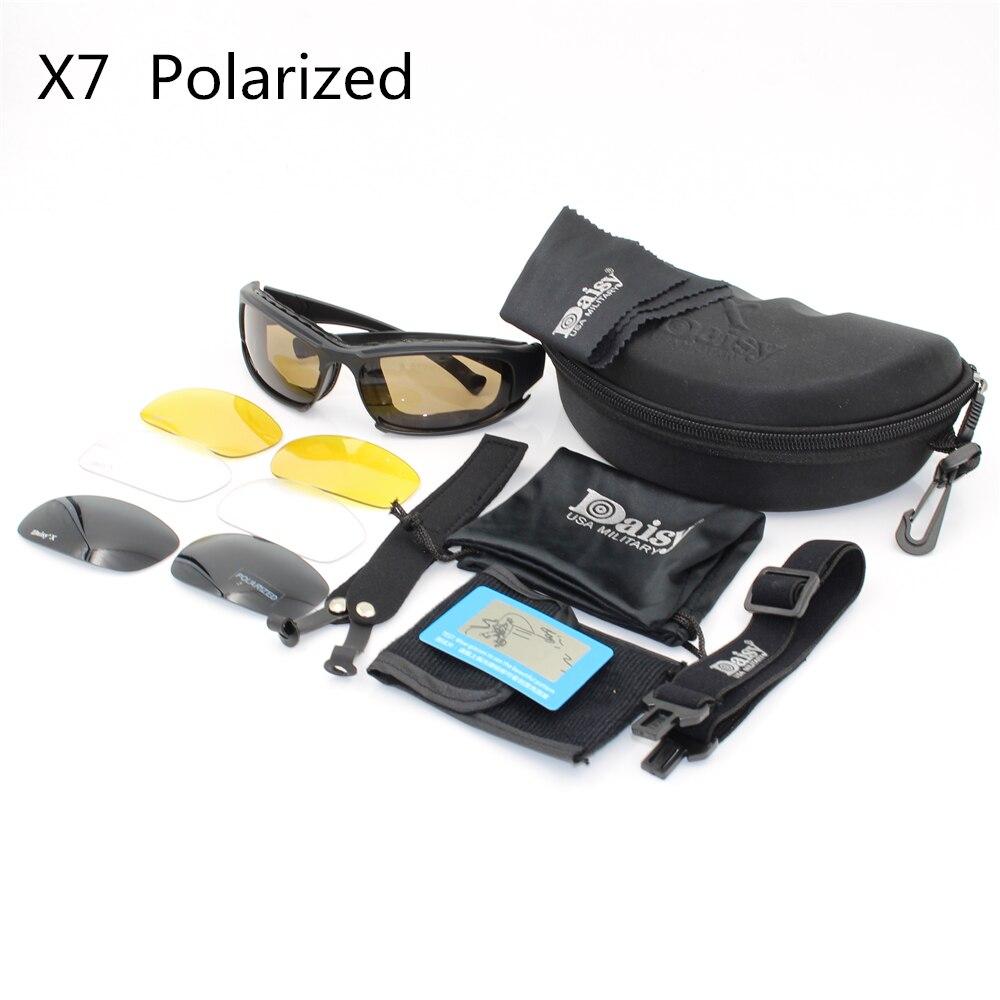 Prix pour Daisy X7 Armée Lunettes lunettes de Soleil Hommes Militaire lunettes de Soleil Mâle 4 lentille Kit Pour Hommes de Jeu de Guerre Tactique Lunettes Polarisées lentille C5