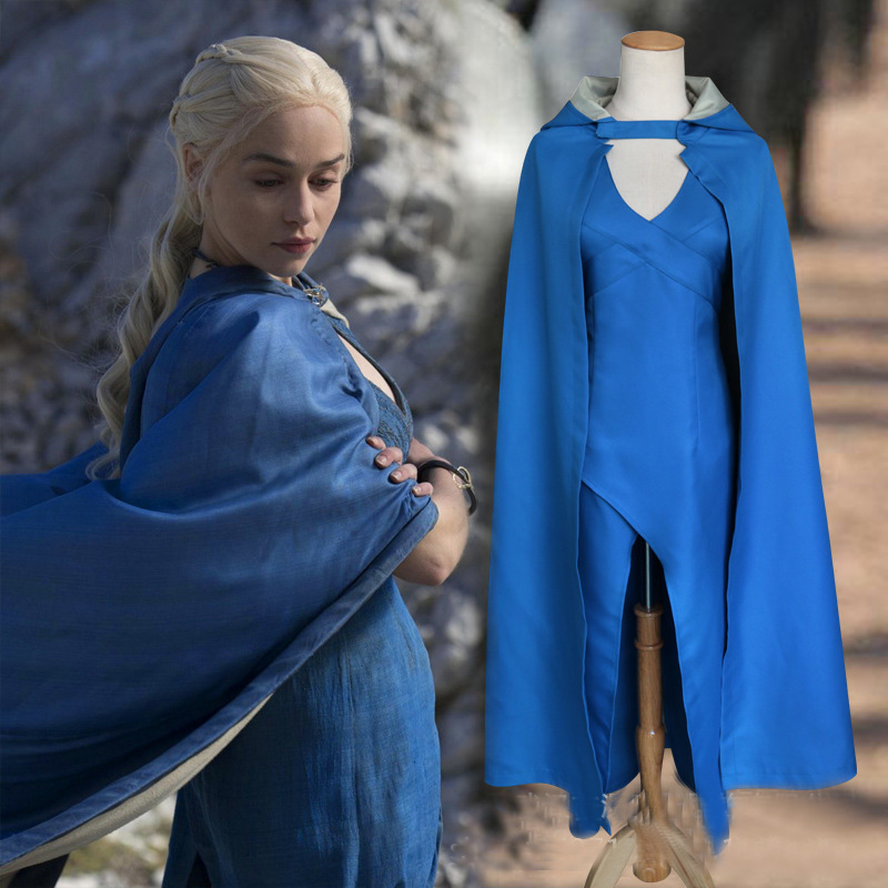 Game of Thrones Season 1 Daenerys Targaryen Dress Mother of Dragon Dress Costume Adult Women's Halloween Carnival Party Costume