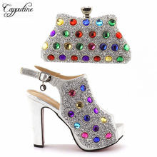 Capputin 2018 Hot Selling Italian Shoes With Matching Bag Set Fashion Decorated With Rhinestone African Silver Shoes And Bag Set