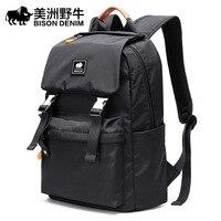 BISON DENIM Korean Style Leather Men Leisure Travel Backpack Fashion School Bag Teenage 12 inch Laptop Backpacks N2912 1