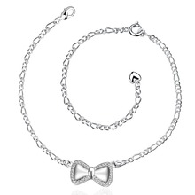 Hot Style A021 Feet Jewelry Bracelet Anklet Figaro Chain Bowknot Anklets for Women Gift Silver Plated Anklets for Ladies