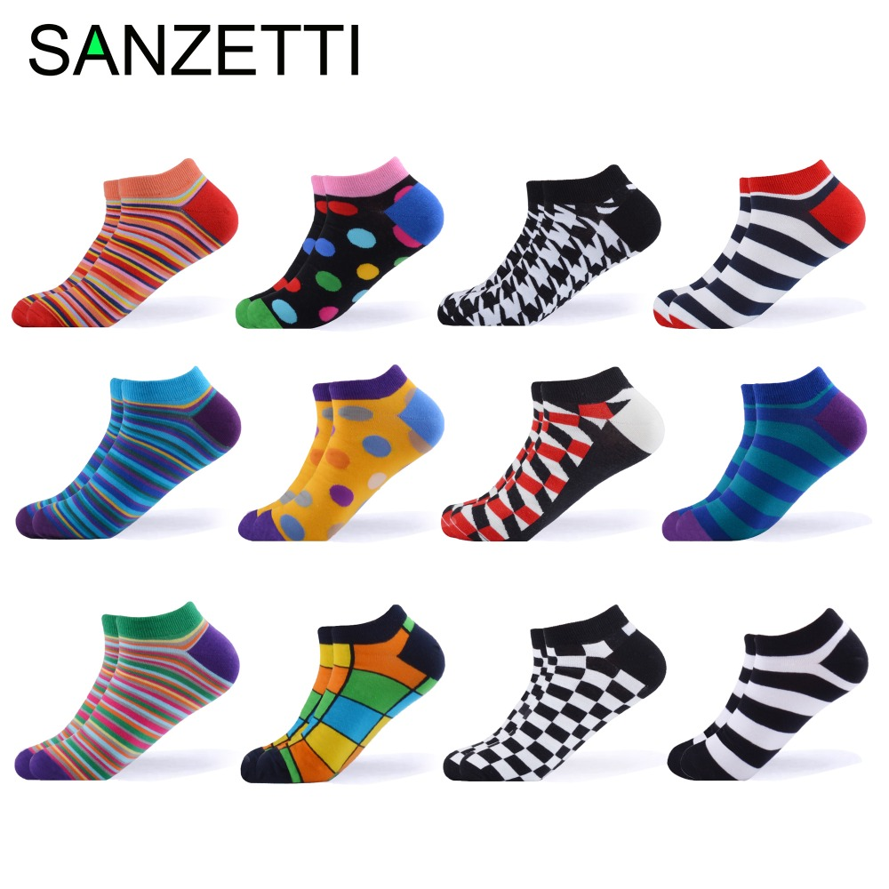 SANZETTI 12 Pairs/Lot 2019 Men Summer Combed Cotton   Socks   Casual Plaid Striped Design Pattern Funny Colorful Dress Gift   Socks