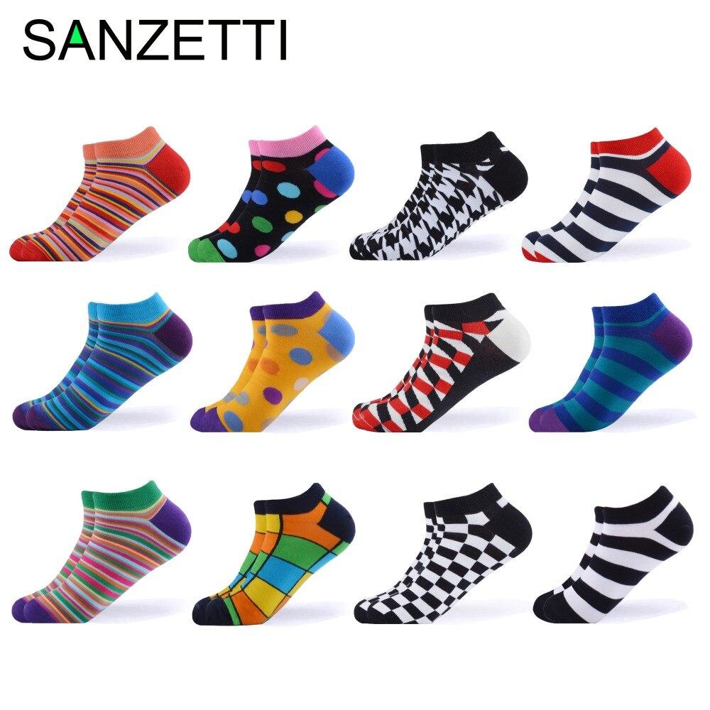 Sanzetti 12 Paare/los 2019 Männer Sommer Gekämmte Baumwolle Socken Casual Plaid Gestreiften Design Muster Lustige Bunte Kleid Geschenk Socken Unterwäsche & Schlafanzug