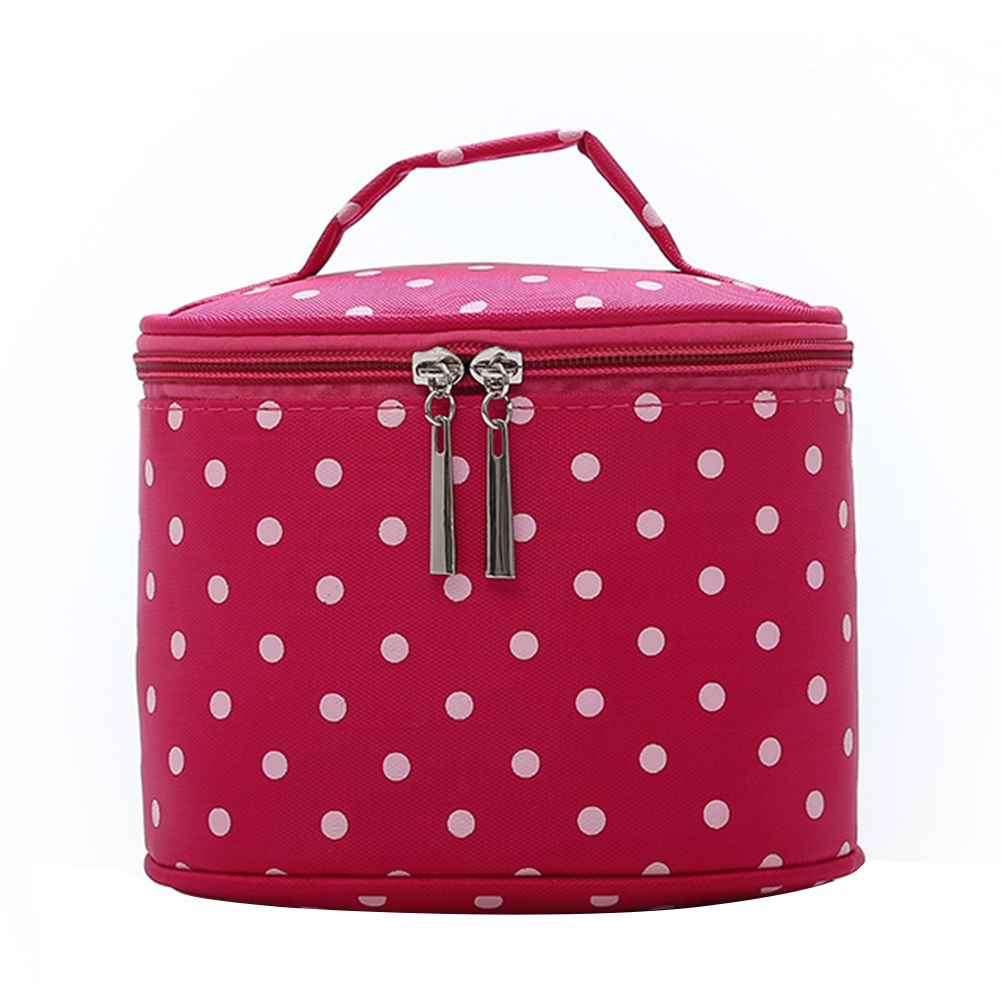 5cae3e6027 Vintage Nylon Polka Dot Round Cosmetic Storage Bag Travel Container  Portable Makeup Bag Travel Necessity Beauty Case Wash Pouch-in Cosmetic Bags    Cases ...