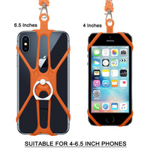Phone Lanyard Necklace Case TPU Shockproof Protective Bumper Shell With Transparent Silica Gel Cover