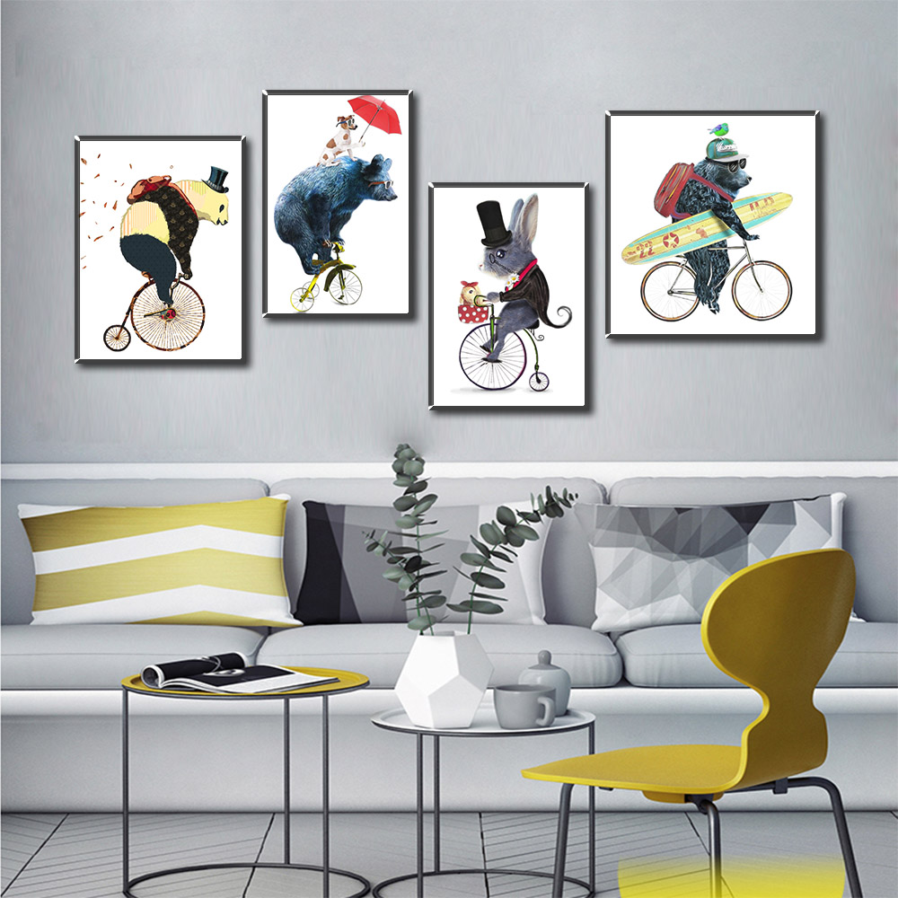 Canvas Portraits Cartoon Animals Decorative Paintings Baby Living Room Mural Mouse Bear Nursery Kids Animal Posters