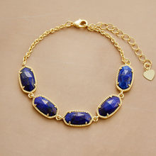 Chain Link Bracelet Lapis Lazuli Gold Color Charm Bracelets High End Natural Stones Bracelet Women Girlfriend Gifts(China)