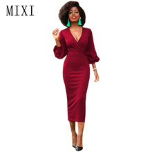 MIXI Women Vintage Dress 3/4 Sleeve V Neck Casual Work Office Party Pencil Dresses Blue Black Red Elegant Mid-Calf Bodycon Dress 6xl oversized dress women clothing office bodycon midi pencil dress fashion square neck lace hook flower party dresses red blue