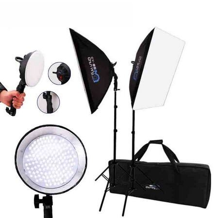 Photography Studio Set:Photography Softbox Light Lighting Kit Photo Equipment Soft Studio Light Softbox&LED Lights