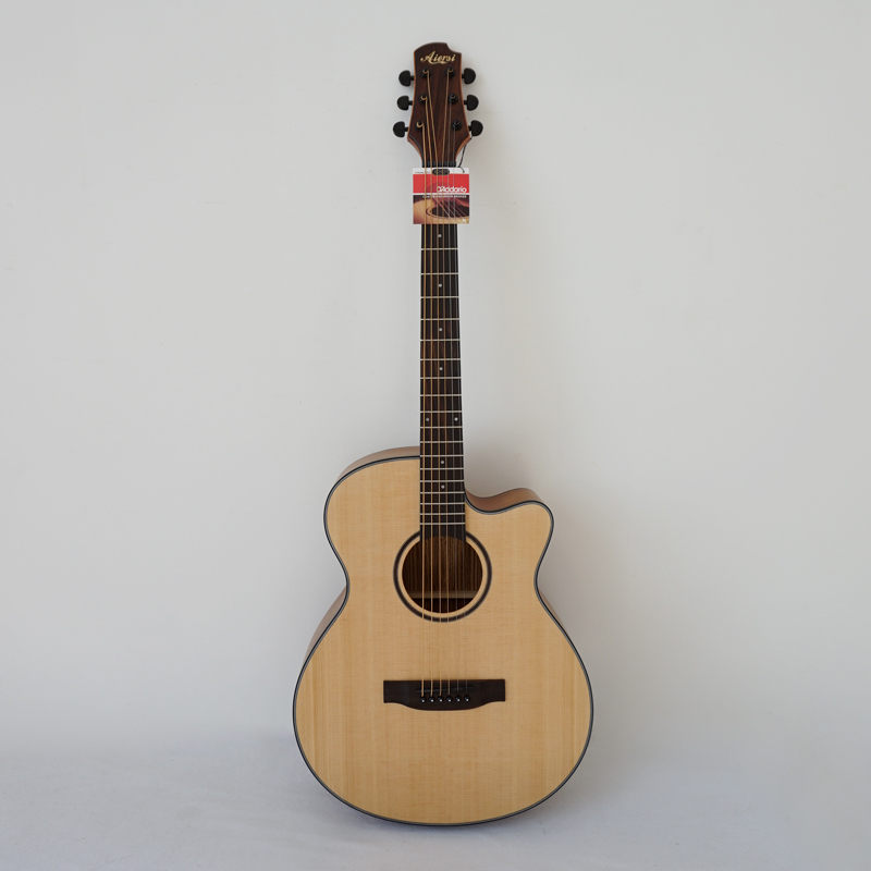 Cutway design Hot Sale 40 Size OM Style Solid Spruce Top Acoustic Guitar Model SG02SZC-40 with free case