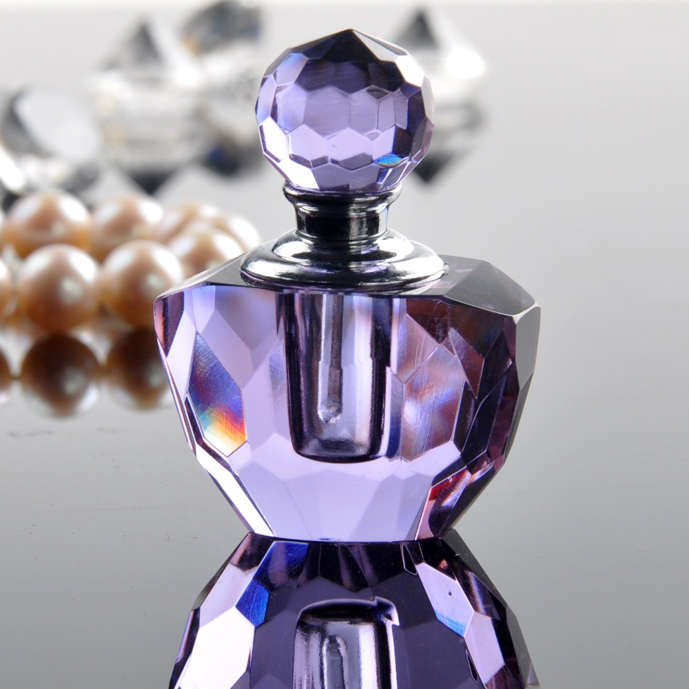 H&D 2ml Light Purple Crystal Empty Refillable Mini Perfume Bottle Travel Size for Home Decor