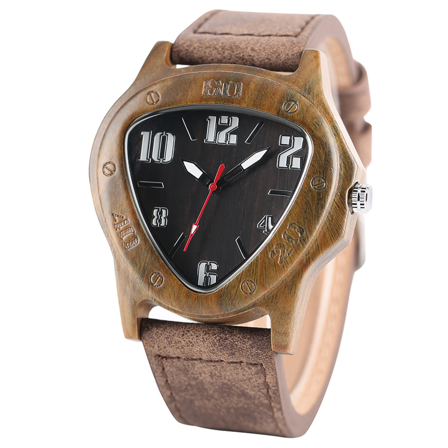 genuine leather band pink buckle quartz Green walnut wood watches02