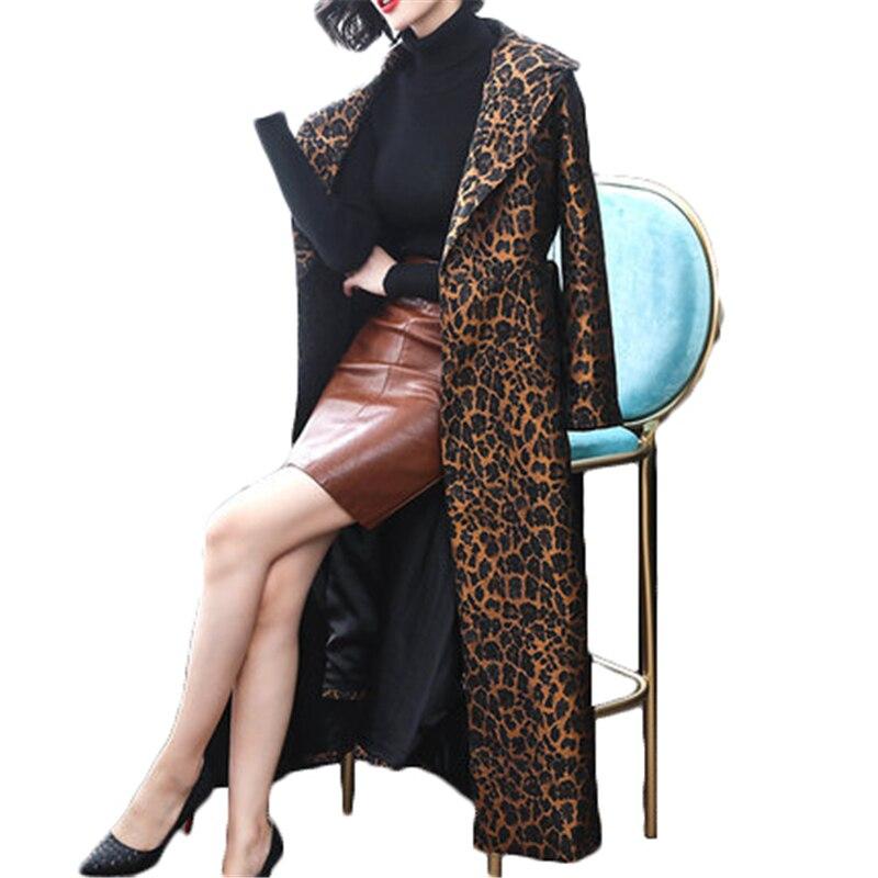 Women Winbreasted Belt Long Coats Autumn Winter Trench Coat Women's Leopard Coat J983