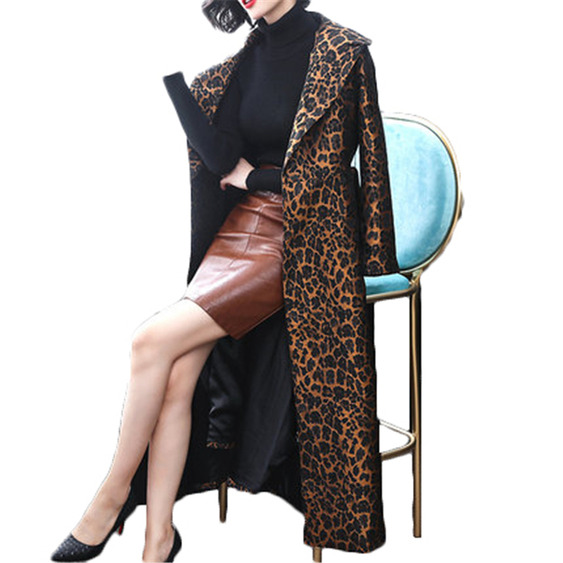 Women Winbreasted belt long Coats Autumn Winter   Trench   Coat Women's Leopard Coat J983