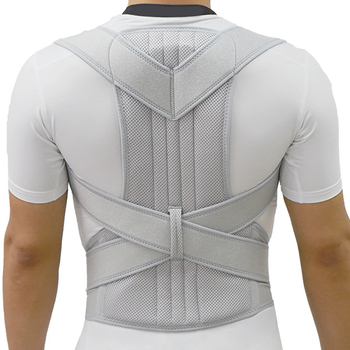 Silver Posture Corrector Belt Supports Shoulder and Spine Useful for Pain Relief Therapy Suitable for Male and Female