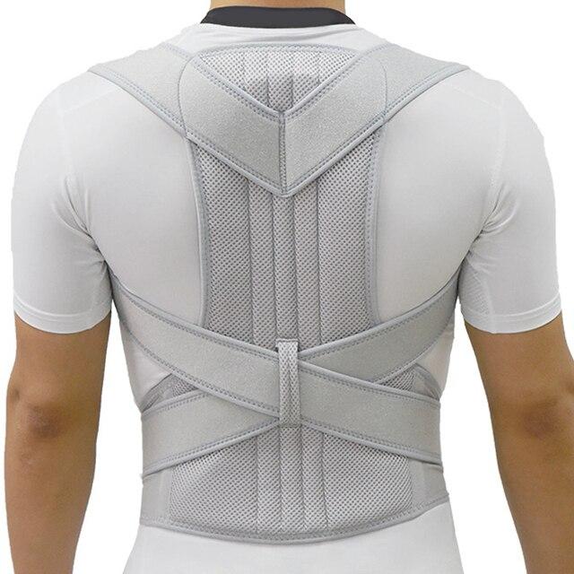Correttore di postura dargento scoliosi tutore posteriore spina dorsale corsetto cintura spalla terapia supporto scarsa postura correzione cintura uomo