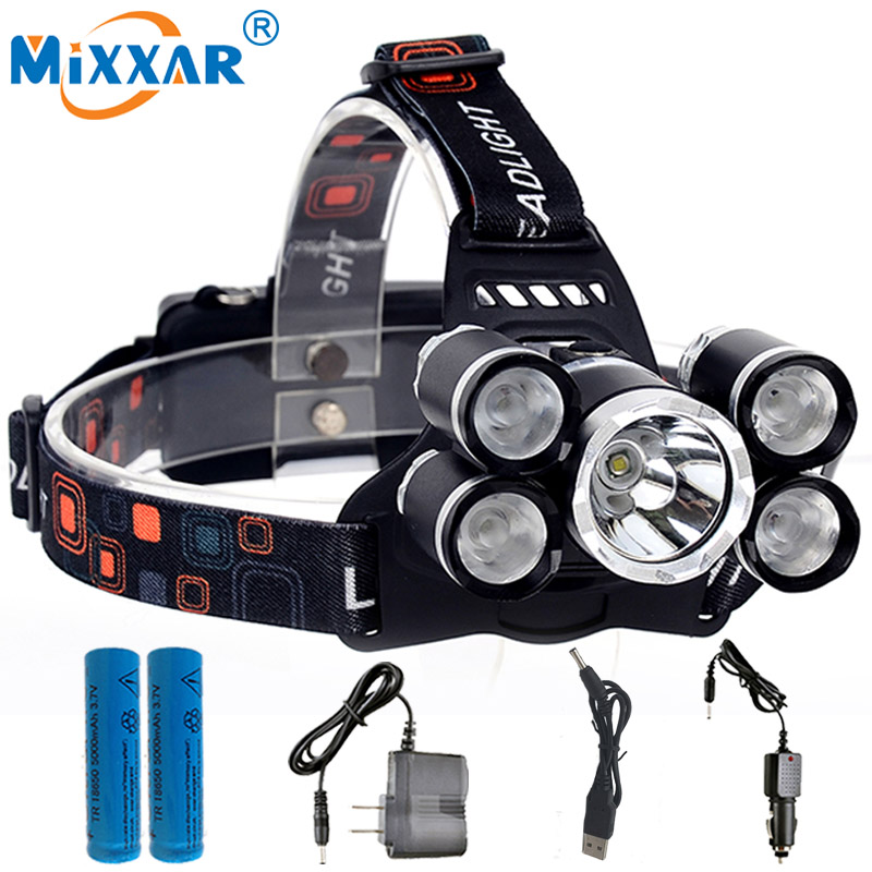 CZK20 LED Headlamp 13000LM CREE T6+4Q5 Chips Headlight Rechargeable Head Hunting Fishing Light Lamp +2*18650 Battery Charger стоимость