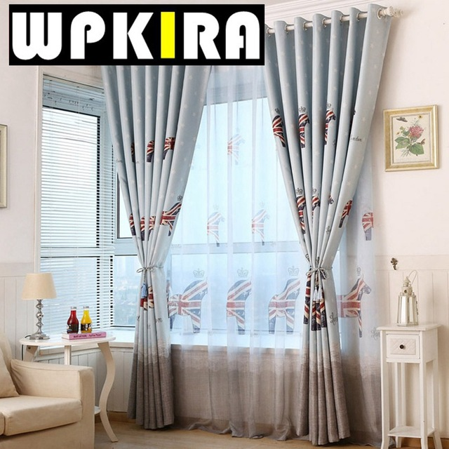 Print Curtain Korean Cartoon Curtains Crown Uk Flag Horse Design Cortina Door Children Room Baby
