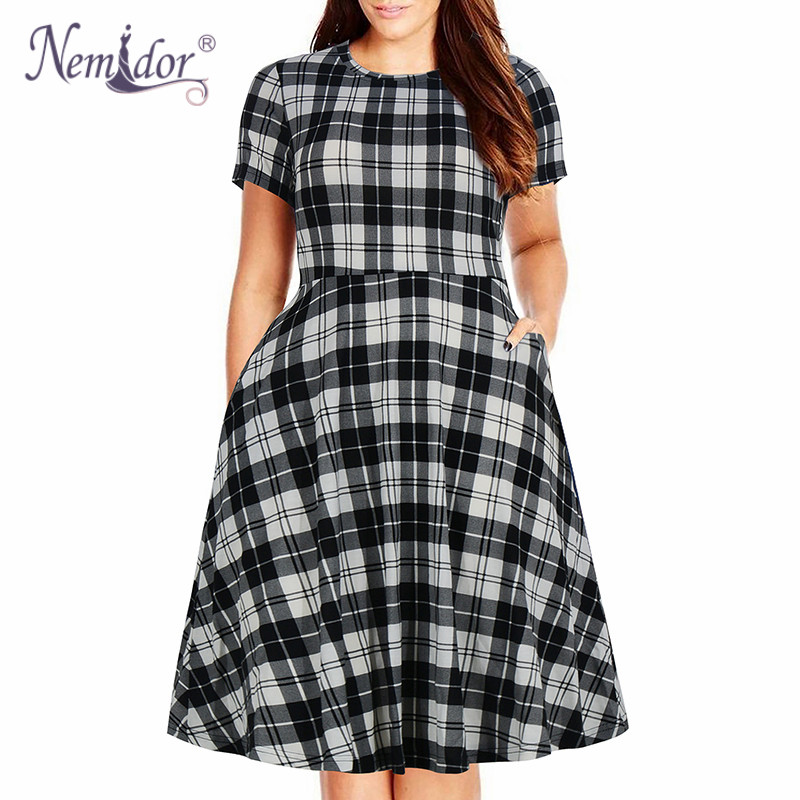 Nemidor Women's Round Neck Summer Casual Plus Size Fit and Flare Midi Dress with Pocket (17)
