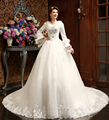 Don's Bridal Lace Appliques Weeding Big Long Sleeves Chapel Train Sexy Ball Gown Bride Dress Wedding Dresses 2016