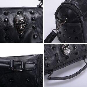 Image 5 - JIEROTYX ผู้หญิงจริงแยกแกะหนัง Messenger กระเป๋า Rivet Skull Tote กระเป๋าถือ Crossbody Bolsas Femininas Black Gothic