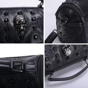 Image 5 - JIEROTYX sac à main en cuir de mouton véritable pour femmes, sacoche à bandoulière à rivets, crâne, fourre tout pour voyage, gothique noir