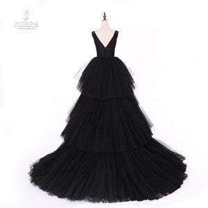 Image 2 - Jusere fotos reais preto gótico maxi vestido de baile vestidos cansado saia copo vestido de noite com cauda 2019 novo
