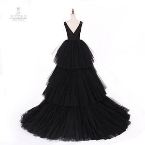 Image 2 - Jusere fotos reales negro gótico Maxi vestido de graduación vestidos de copa cansado falda vestido de noche con cola 2019 nuevo