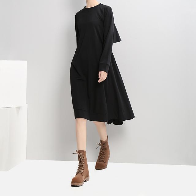 2017 New Autumn Women Navy Midi Straight Dress O Neck Long Sleeved Back Pleated Ladies Casual Dress Casual Wear Dress Robe 2917