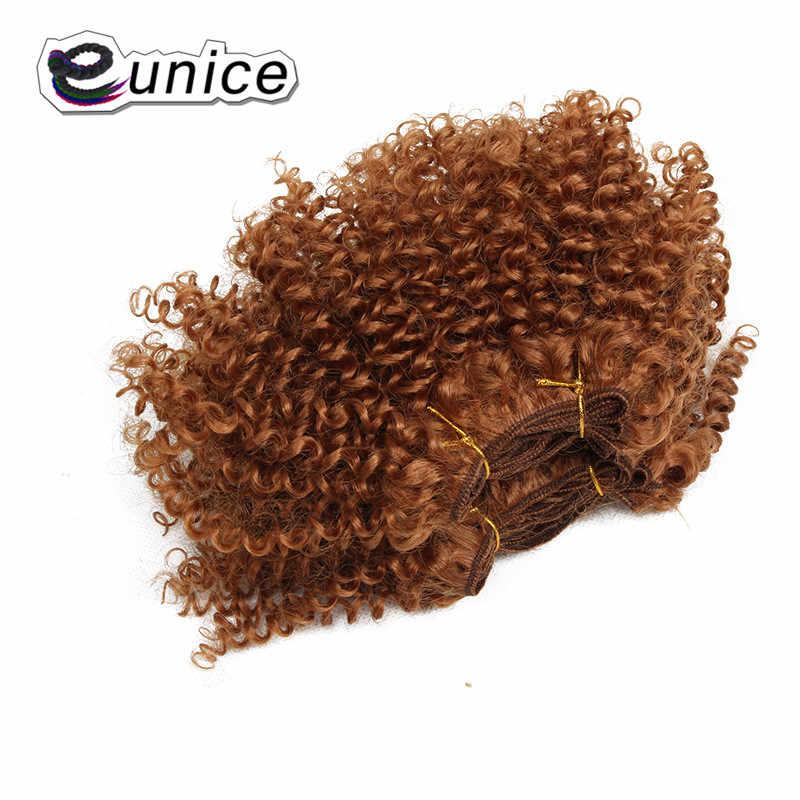 3 упаковки/лот 8 дюймов Короткие искусственные пряди для вплетения в волосы афро кудрявые вьющиеся волосы пучки Eunice волосы для наращивания ткет для черных женщин