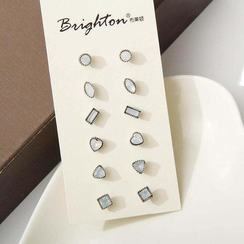 New Brand Design 6 Pairs/Set Cute Moon Stone Rhinestone Earring Mixed Shaped Square Geometry Ear Studs Earrings Big Sale