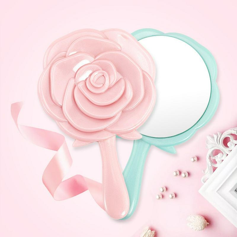 1pcs Rose Shape Portable Plastic Hand Hold Makeup Mirror Princess Lady Makeup Beauty Tool For Gifts Random Color