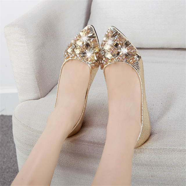Autumn new arrival 2017 beaded rhinestone gold wedding shoes flat single shoes shallow mouth pointed toe flat heel casual shoes