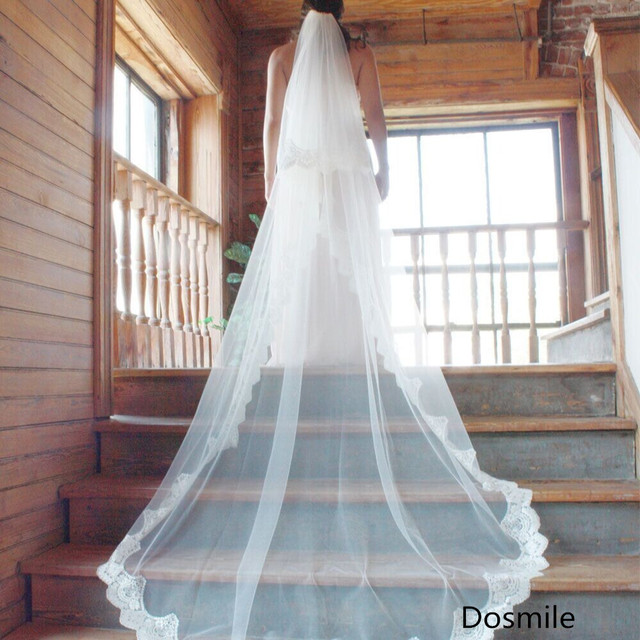 Free Shipping velo de novia 3 M long cathedral white/ivory Lace bridal veil 2 T mantilla Tulle wedding Accessories with comb