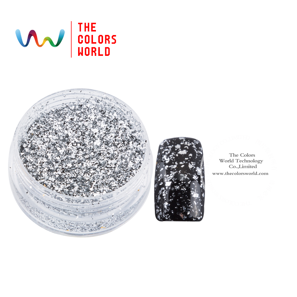 TCWZ801 Metallic luster Silver Colors Flakes Magic Mirror Effect Powders Sequins Nail Gel Polish Chrome Pigment Decorations