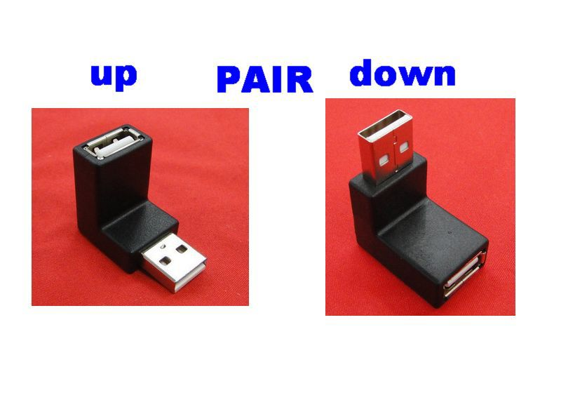 1 Pair Up + Down Right angle 90degree USB 2.0 A Male to Female converter adapters